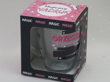 476107 KUBEK BARYŁKA SZKLANA Z MAGICZNYM NADRUKIEM 350 ML MAGIC